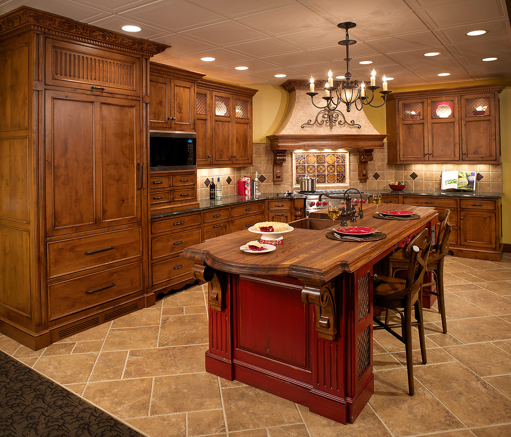 Red Floor Tiles For Kitchen Kitchen Remodeling Contractor Cabinets Counters Flooring